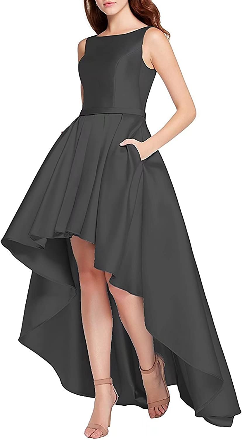 High Low Homecoming Prom Dresses 2018 Satin ALine Evening Formal Party Ball Gown