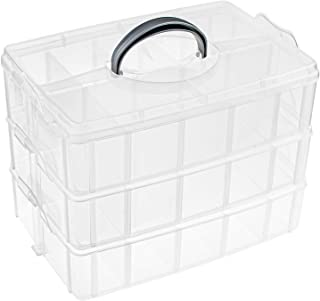 Foraineam 3-Tier Stackable Storage Box Organizer with 30 Adjustable Compartments, Plastic Craft Organizer Case Tool Storag...