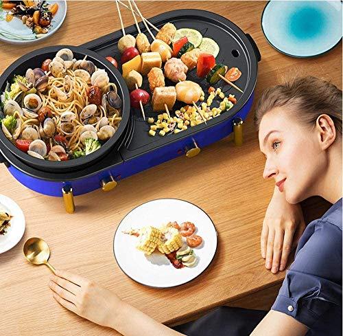 61teSRG+hAL - KOIUJ Haushalt Multi-Funktions-Grill Bratpfanne Dual Purpose Barbecue Hot Pot EIN Pot Elektro Hot Pot Elektro-Backen-Wannen-Rinse-Wannen-Koch Pan gegrillte Pan-Blau