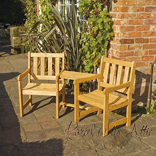 Garden Furniture Companion Seat Set Solid Wood Bench Chairs Parasol Honey Stain Finish