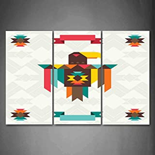 Hanging Wall Art Oil Painting 3 Panel,Southwestern 3D Picture Print,Ethnic Composition with an Eagle in Native American Style Folk Totem Symbol,Home Decoration Wall Decor Gift,Multicolor ,Indoor/Livin