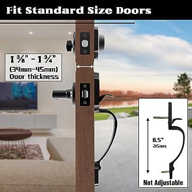 Front Door Handleset, Entry Handle with Single Cylinder Deadbolt, Front Door LockSet Traditional Design Matte Black, Exterior