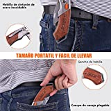 TACKLIFE Cúter, Cuchillo Plegable con 5 Hojas, Cuchillo de Seguridad con Mango de...