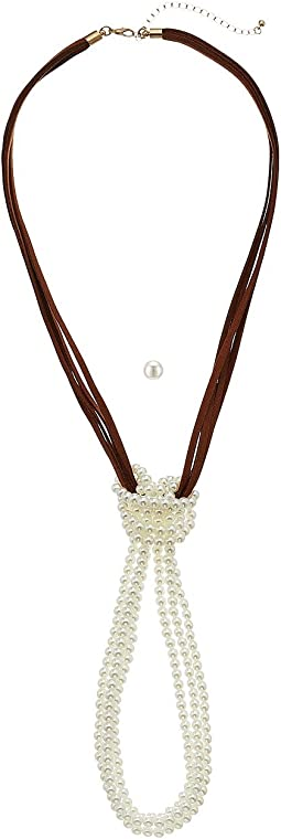 M&F Western - Suede and Pearl Knot Necklace/Earrings Set