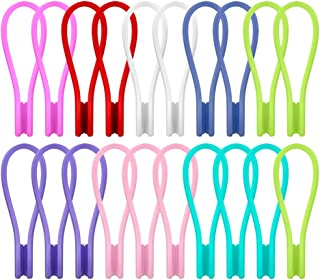 Joseche Silicone Twist Ties Strong Magnetic Cable Clips - Multi Color Cord Winders 20 Pack Unique Gadgets for Cable Manage...