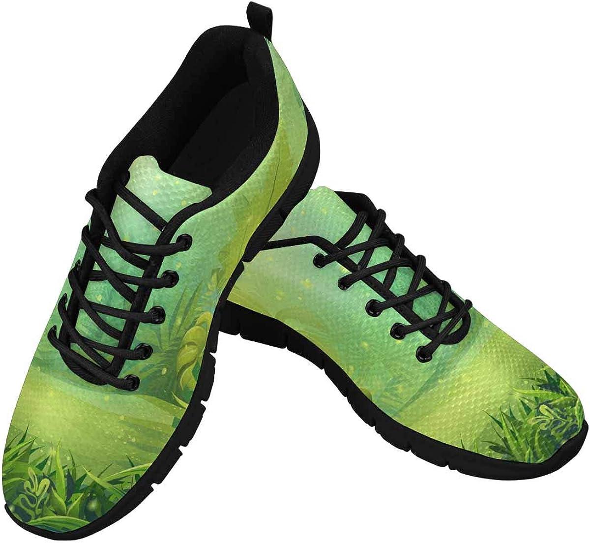 INTERESTPRINT Cartoon Morning Bright Jungle Women's Tennis Running Shoes Lightweight Sneakers