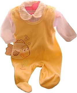 Malgosia - A&O Baby Strampler & Hemdchen Set 56 62 68 74 Weiß/Creme Fisch Nicki Samt