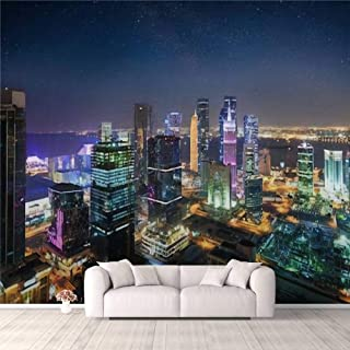 Modern 3D PVC Design Removable Wallpaper for Bedroom Living Room View to the city center of Doha Westbay Qatar by night wi...
