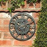Reloj de pared de jardín al aire libre Grande 30 cm Equipo hueco Efecto de pizarra vintage Resistente a la intemperie Reloj de pared de jardín interior al aire libre Valla decorativa Adorno de jardín