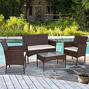 Shintenchi 4 Piece Outdoor Patio Furniture Sets, Small Wicker Patio Conversation Furniture Rattan Chair Set with…