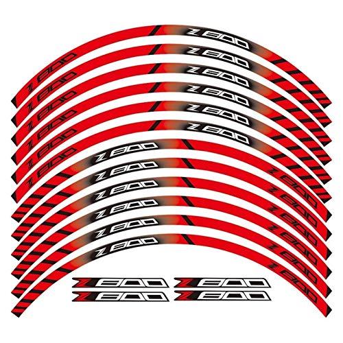 bazutiwns Un Conjunto de calcomanías de Rueda de Motocicleta de 12 unids Impermeable Pegatinas Reflectantes Ramillas de llanta para Todos Kawasaki Z800 HSLL (Color : Red)