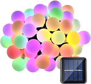 Solar String Lights Cherry Blossom 23ft 50 LED Waterproof Outdoor Decoration Lighting for Indoor/Outdoor, Patio, Lawn, Garden, Christmas, and Holiday Festivals … (Multi color globe)