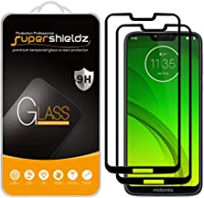(2 Pack) Supershieldz for Motorola (Moto G7 Power) Tempered Glass Screen Protector, (Full Screen Coverage) Anti Scratch, Bubble Free (Black)