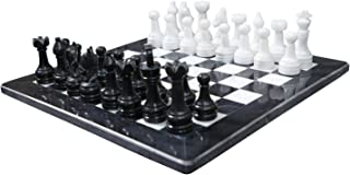 RADICALn 15 Inches Handmade Black and White Weighted Full Chess Game Set with Storage Box - Staunton and Ambassador Style Marble Tournament Chess Sets for Adults