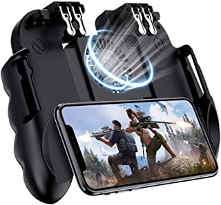 Mobile Game Controller For PUBG, [6 Finger/Upgrade Version ] Goglor Android & Iphone L1R1 Aim And Shoot Triggers Joystick Gamepad With Cooling Fan For Battle Royale/Knives Out(include 2 Finger Sleeve)