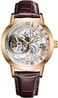 Luxury Rose Gold Watches Men's Skeleton Dial Automatic Watches Leather Strap VM-1