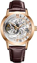 OBLVLO Luxury Rose Gold Watches Men's Skeleton Dial Automatic Watches Leather Strap VM-1