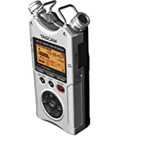 Tascam DR-40 4-Channel / 4-Track Handheld Digital Audio Recorder with Adjustable Stereo Microphone (Silver)