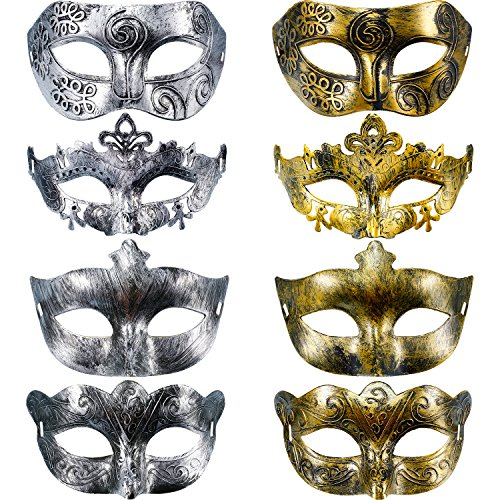 Gejoy - Máscara de carnaval (8 unidades), diseño vintage, color dorado y plateado