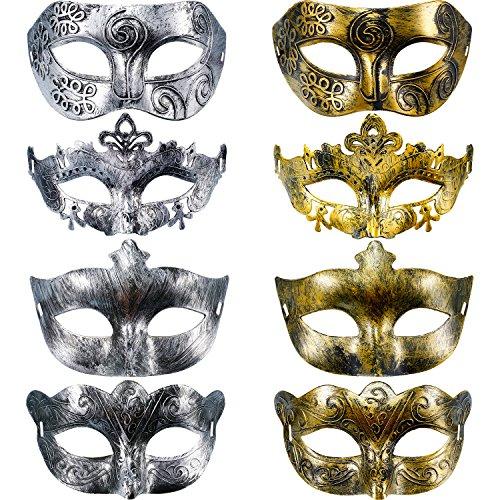 Hestya 8 Pezzi Vintage Antichi Maschere Mascherata Carnevale Maschera (Oro Argento)