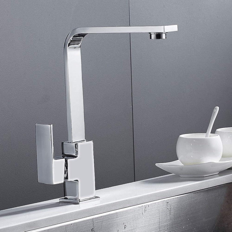 Generic Wasserhahn für Waschbecken, quadratisch, Chrom Chrom, mit Monoblock, Wasserhahn, Wasserhahn für die Küche, quadratisch, Wasserhahn, Messing