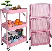 LIUNA Składany wózek do przechowywania, wielofunkcyjny wózek na kółkach, 3-poziomowy metalowy organizer do przechowywania,...