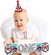 Big Dot of Happiness Fired Up Fire Truck 1st Birthday - First Birthday Boy Smash Cake Decorating Kit - High Chair Decorations
