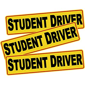 VaygWay Car Student Driver Magnet- Driver Bumper Decal Side Magnet- Please Be Patient Student Driver- Reflective Sign 3 Pk Auto- Kids Beginners Teens Safety Sign Custom Autos 99TS