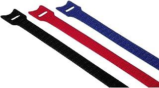 Hama Klett Kabelbinder, wiederverschließbar (Kabelbinder mit Klettverschluss zum Wiederverwenden, flexibles Kabelmanagement zur Fixierung von Kabeln Schläuchen und Rohren, 145 mm, 12 Stück) farbig