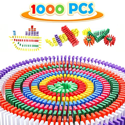 WOOD CITY Dominoes 1000pcs with Extra 20 Addon Blocks Colorful Dominoes Set Dominoes Set for Kids Building Racing and Stacking Great Gift Wood Domino Rally Educational Dominos Game