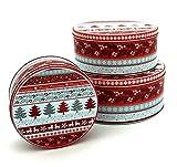 Plätzchendosen Set 3 Stück Weihnachten Gebäckdose in rot weiß mit Tannen Metall Keksdose Vorratsdose Aufbewahrungsbox Plätzchen Aufbewahrung Geschenkbox Blechdose Weihnachtsbox Dose...