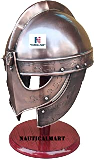 NauticalMart 7th Century VALSGRADE Armor Helmet The Knight Helmets in Copper Finish with Brass Accents Viking Wolf Armour ...
