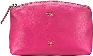 Maxwell Scott Personalized Women's Premium Leather Makeup Bag - Chia Petrol