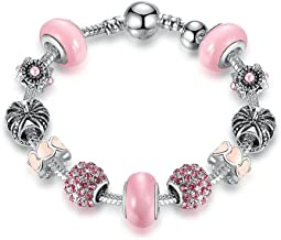 Silver Charm Bracelet & Bangle With Royal Crown Charm And Crystal Ball White Beads PA1901 20cm