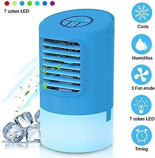 Mini Climatizador Portatil 4 en1 Ventilador Humidificador Mini Aire Acondicionado Frio Silencioso Enfriador de Aire Evaporativo Personal Air Cooler 7 Colores Luz Ajustable con Temporizador para casa