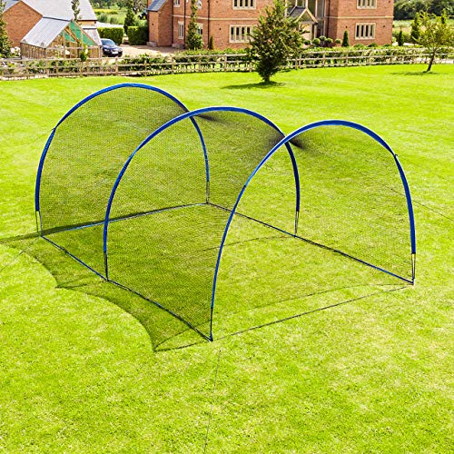 Fortress Pop-Up Baseball Batting Cage | Backyard Batting & Pitching Practice [20ft, 40ft, 60ft or 80ft Net Length] | Baseball Net for Hitting and Pitching (20ft Net Length, Open Ended)