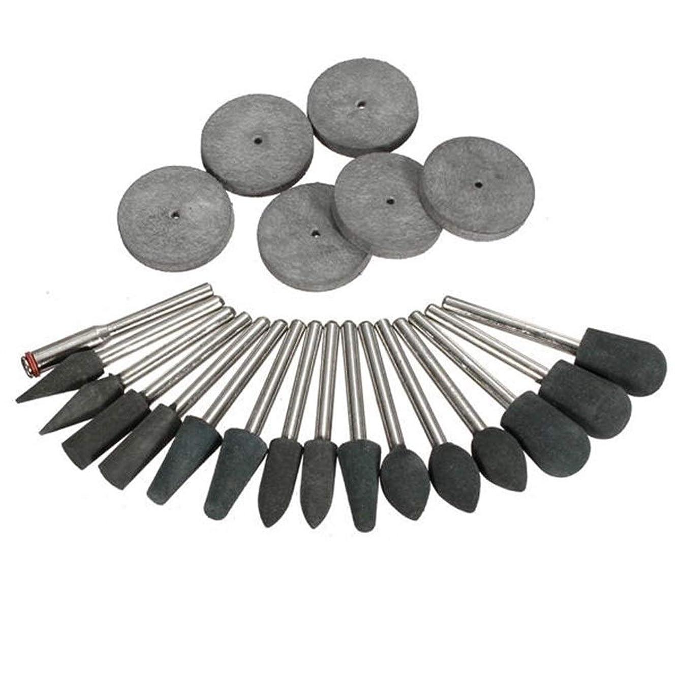 派手評価するアプライアンスYKJ-YKJ 工業用研磨剤22pcs 3.1ミリメートル回転工具用シャンクゴム研磨ヒントとディスクキット 研磨工具