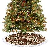 Falda de árbol de Navidad de lujo de cachemira con flores abstractas de pequeñas flores bicolor inspiradas en la naturaleza, adornos para Navidad, Año Nuevo, fiesta, hogar, marrón, marfil, 92 cm
