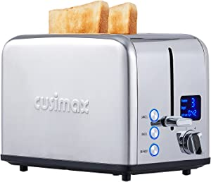 Toaster 2 Slice, CUSIMAX Stainless Steel Toaster with Large LED Display, Bread Toaster 1.5'' Extra-wide Slots with 6 Browning Settings, Cancel/Bagel/Defrost Function, Removable Crumb Tray, Silver