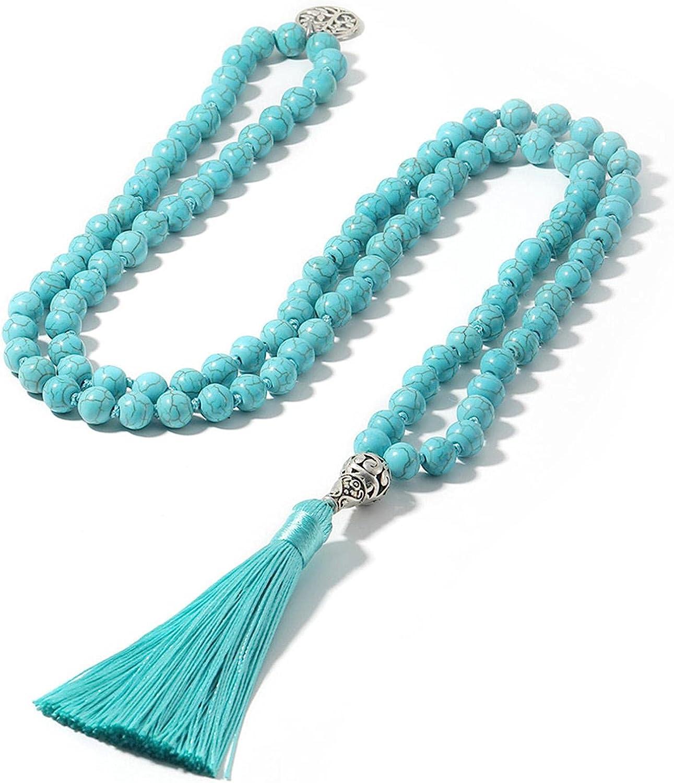 Mala Necklace 8Mm Turquoises Stone Yoga Jewelry Max 71% 4 years warranty OFF Japa Ma