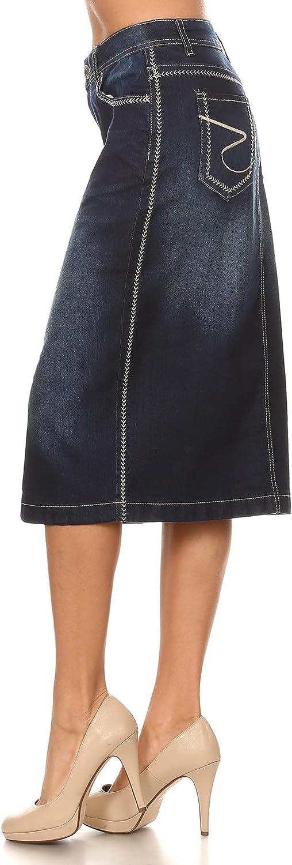 Fashion2Love Women's Juniors/Plus Size Calf- Length Pencil Stretch Denim Skirt (77104)