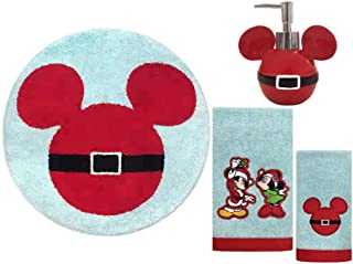 Merry Christmas Mickey and Minnie Disney Holiday Round Bath Rug, Hand Towel, Fingertip Towel and Lotion Dispenser Bathroom Set