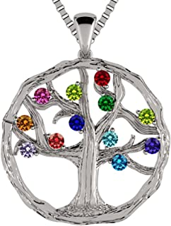 NANA Tree of Life Mother's Pendant 1-12 Stones with a 1mm 22