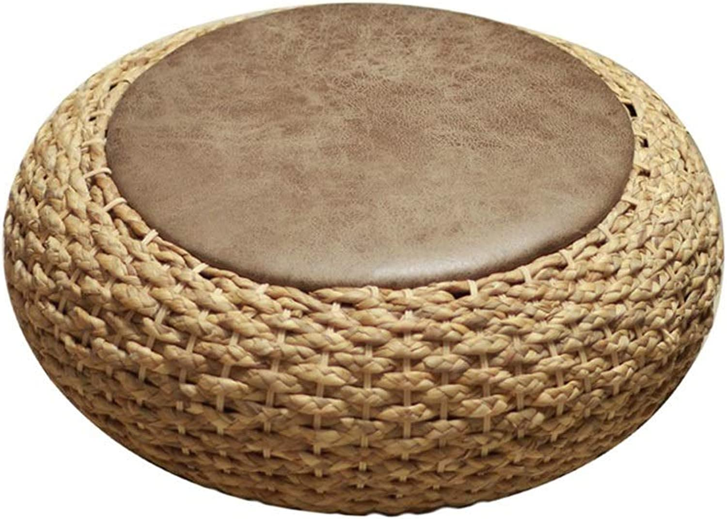AGLZWY Rattan Stool Round Yoga Mat Multipurpose Thicken Leather Mat Cushion Rattan Weaving Purifying Air Futon Meditation Rest Bay Window Tea Ceremony Decoration (color   A, Size   60X19CM)