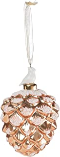 Golden Pine Cone with Cardinal 4 inch Glass Specialty Christmas Ornament