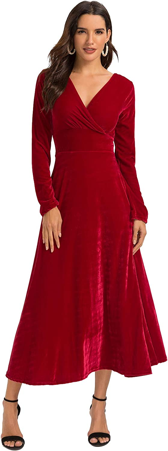 Escalier Women's Long Sleeve VNeck Faux Wrap Velvet Maxi Dress