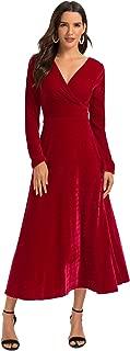 Women's Long Sleeve V-Neck Faux Wrap Velvet Maxi Dress Wine 2XL