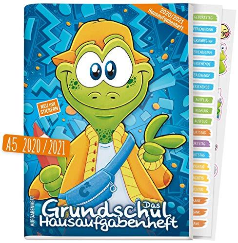 Hausaufgabenheft Grundschule: Das Grundschul-Hausaufgabenheft 2020/2021 A5 [Frosch] + Lerntipps, spannendes Wissen, Lern- und Denkspiele! Klimaneutral und nachhaltig