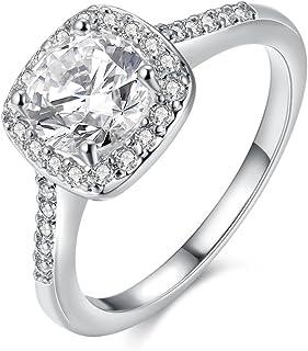 Yuren Eternal Love Women's 18K Rose/White Gold Plated CZ Diamond Engagement Rings Best Promise Rings Anniversary Wedding B...