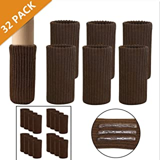 BLENDNEW Chair Leg Socks, 32PCS Knitted Furniture Socks Chair Leg Floor Protectors with Elastic Non-Slip Rubber Strips, Coffee Brown Furniture Booties Covers Set